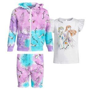 🔥 Disney Kids Frozen Fleece Hoodie/Tee/Shorts Set